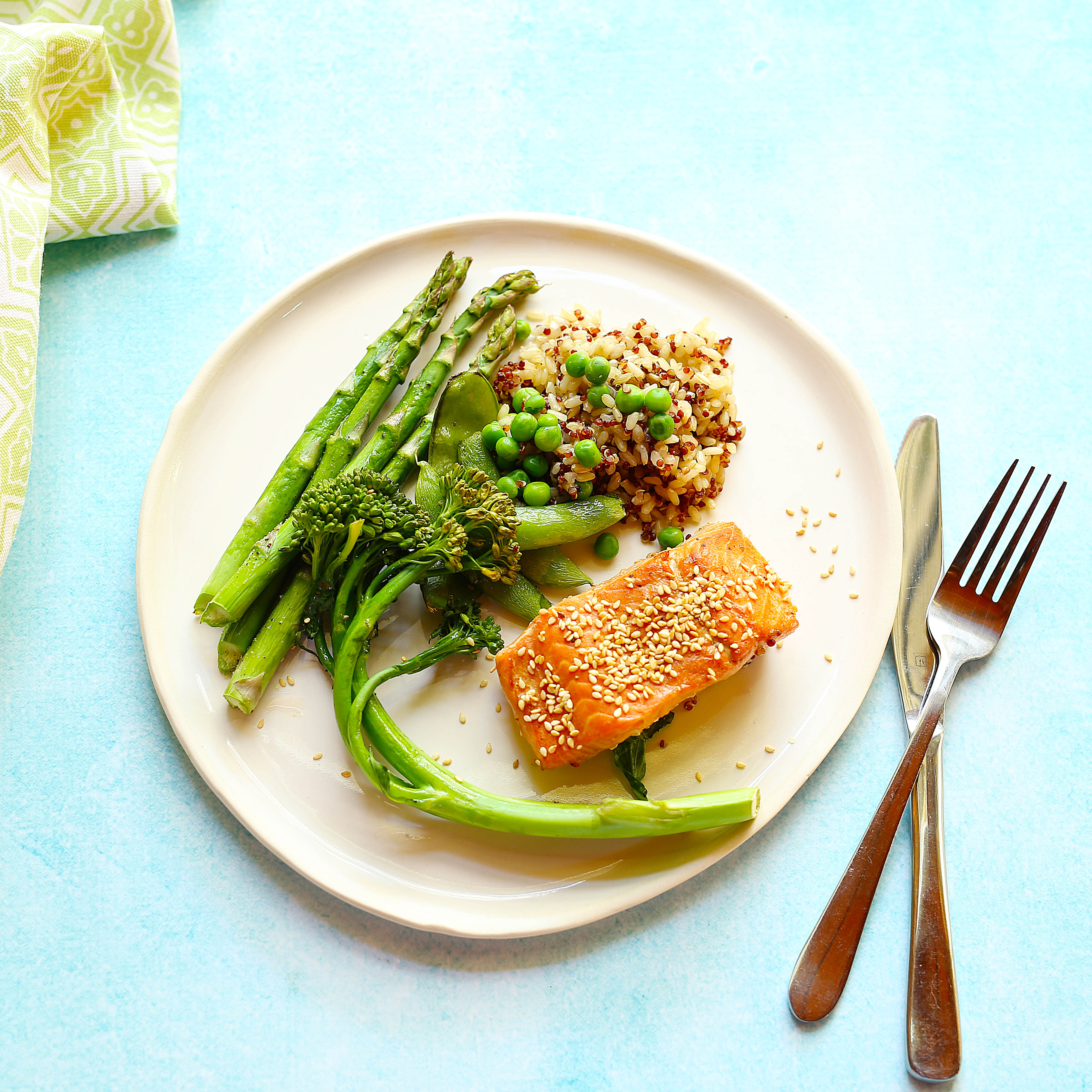 quick and easy one tray oven baked salmon with quinoa and rice